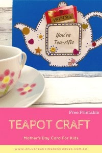 Image of Mother's Day teapot card printable