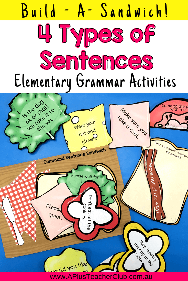 types of sentences printables