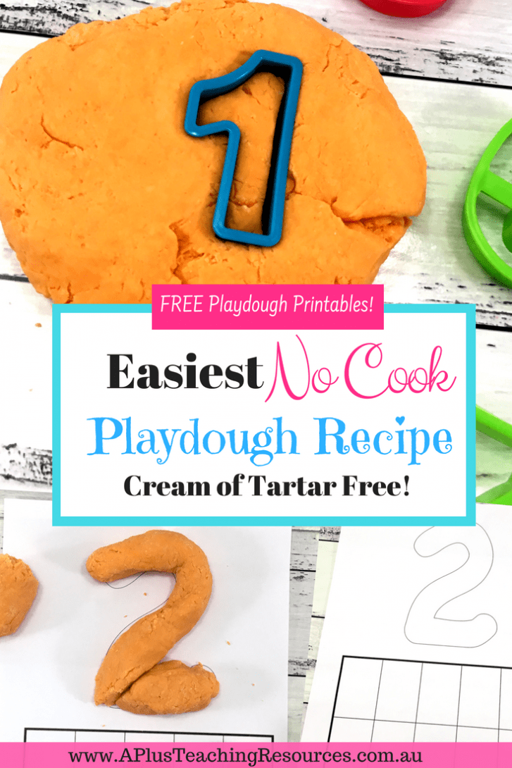 homemade NO COOK Playdough recipe with Just 4 ingredients