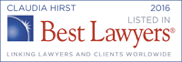 Claudia Hirst listed in Best Lawyers 2016