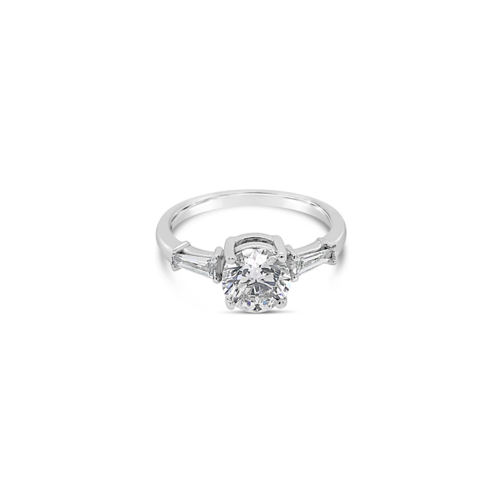 Round Diamonds and baguette Diamonds Engagement ring
