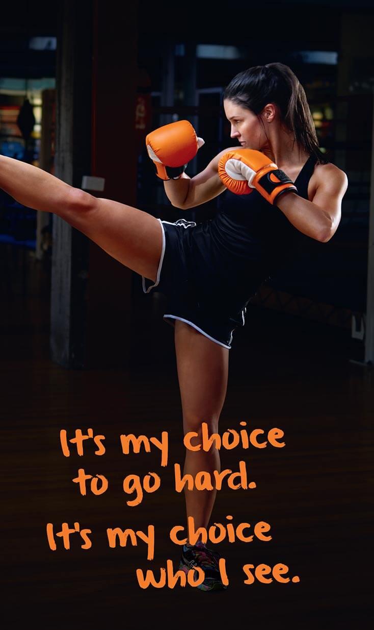 Australian Unity | Woman kick boxing at gym