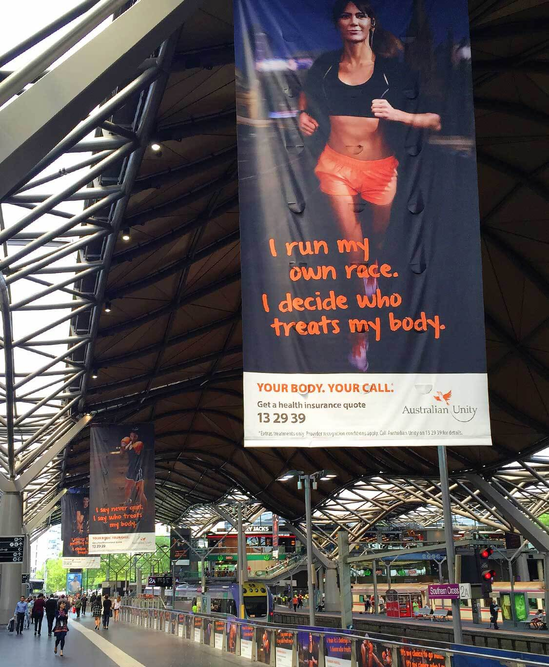 Australian Unity | Large Format Outdoor Banners | Your Body. Your Call. campaign