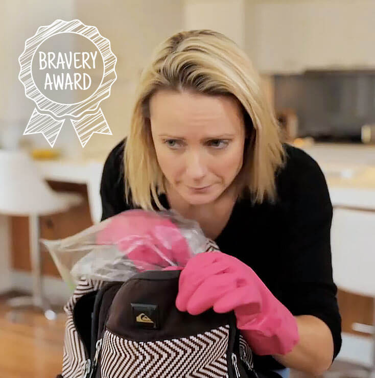 Raco Cookware | Kate Burch comedian smelling kids backpack | Bravery award