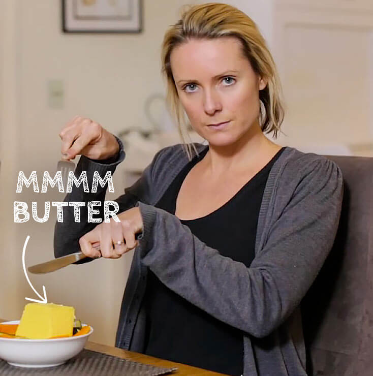 Raco Cookware | Kate Burch comedian eating slab of butter