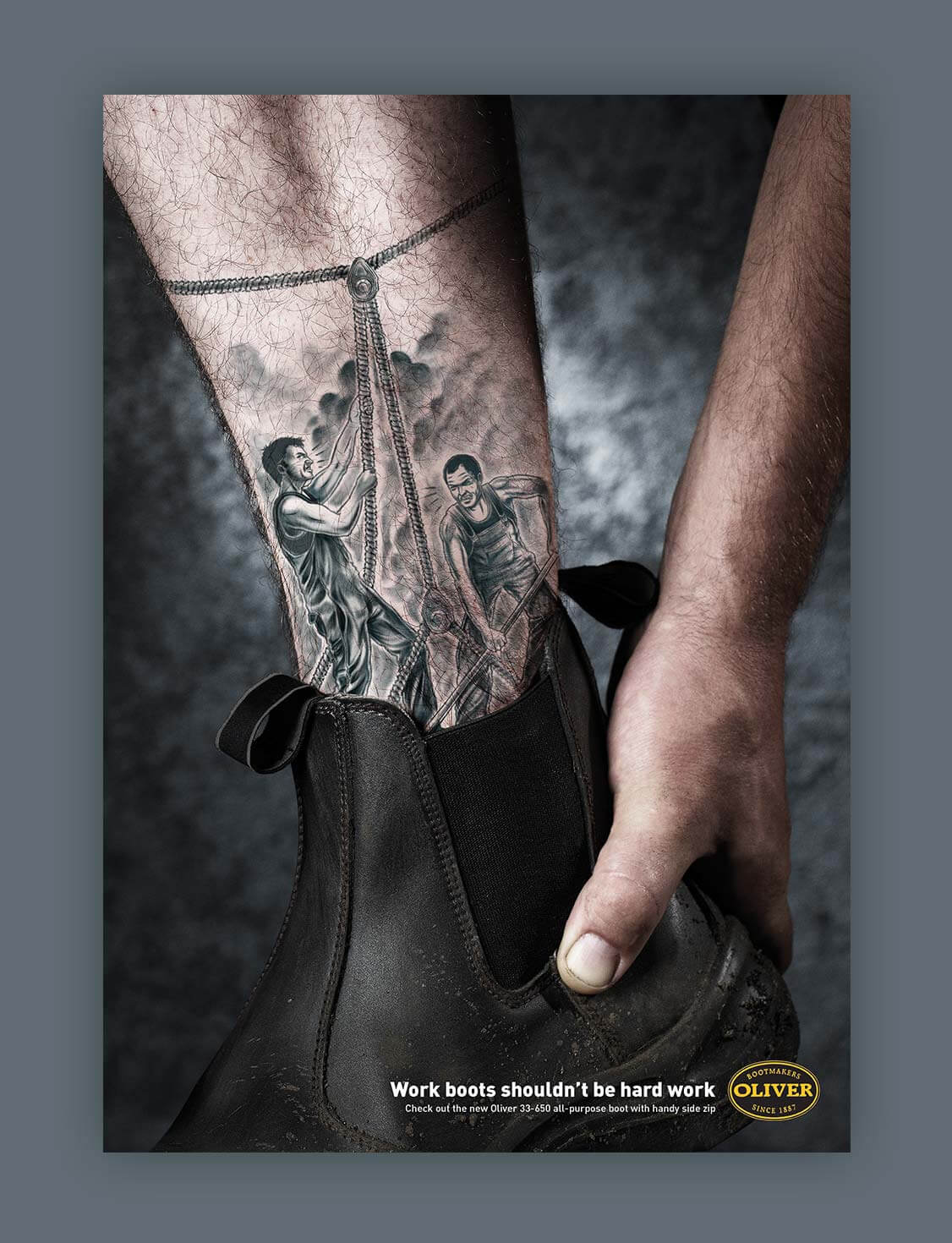 Oliver Footwear | Worker with ankle tattoo of men working hard | Magazine Ad