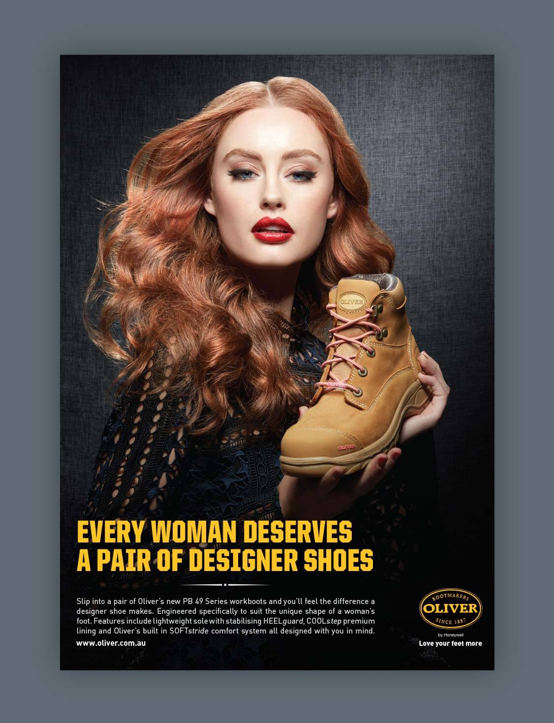 Oliver Footwear | Glamorous woman holding woman's wheat construction boot