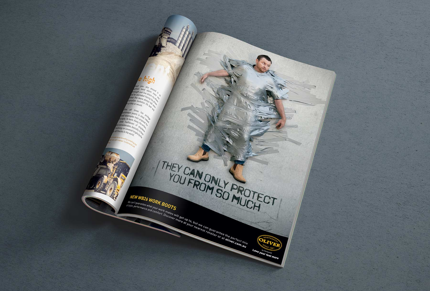 Oliver Footwear | Worker stuck on wall covered in duct tape | Magazine Ad
