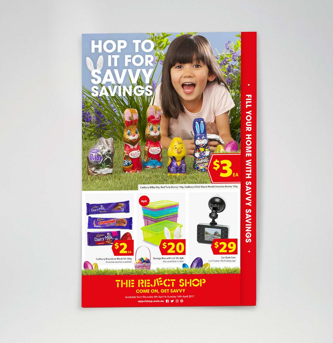 The Reject Shop catalogue cover showing Savvy Easter Savings