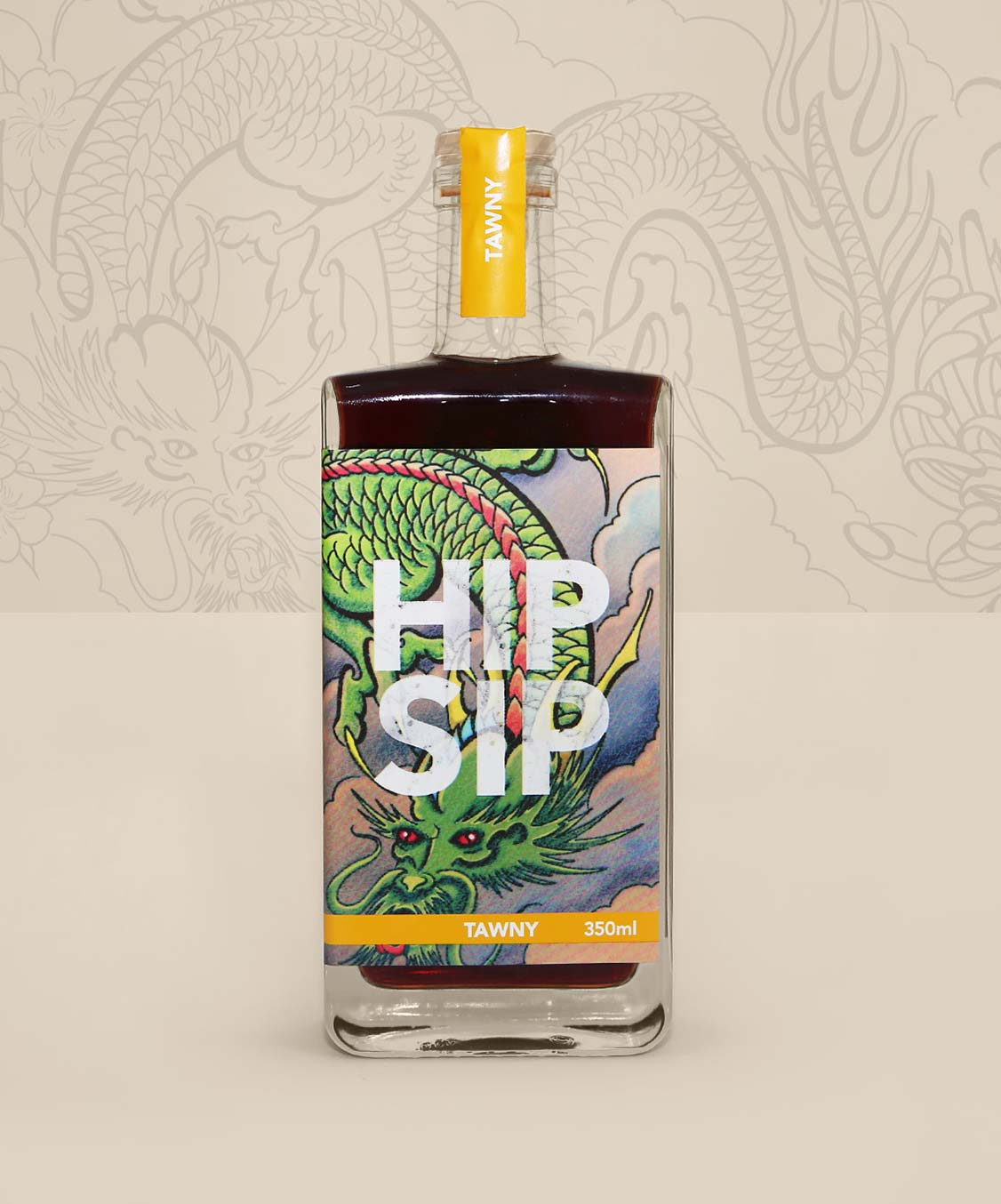 Hip Sip Tawny yellow bottle with tattoo artwork