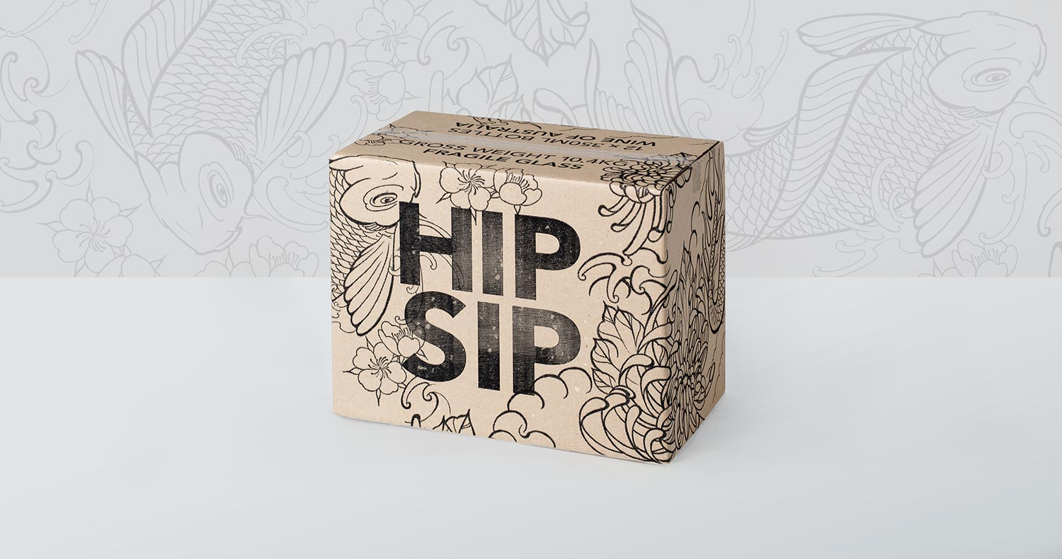 Hip Sip packaging brown cardboard box