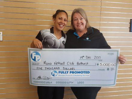 Liz Luisi Fully Promoted Bathurst Mana Netball Donation