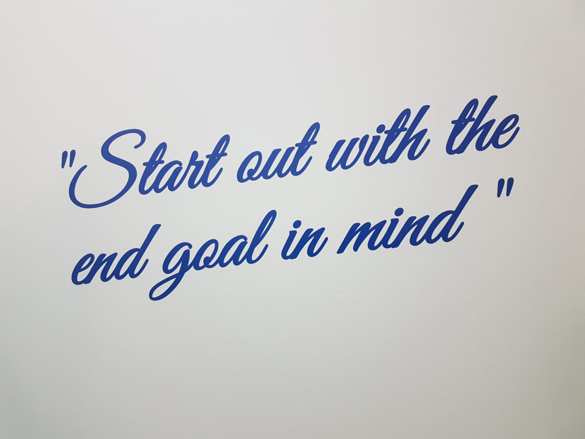 Lizs Every Day Motto Features On Her Office Wall
