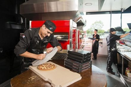 Dominos Pizza On Franchise Buyer Store Internal Cutting Pizza