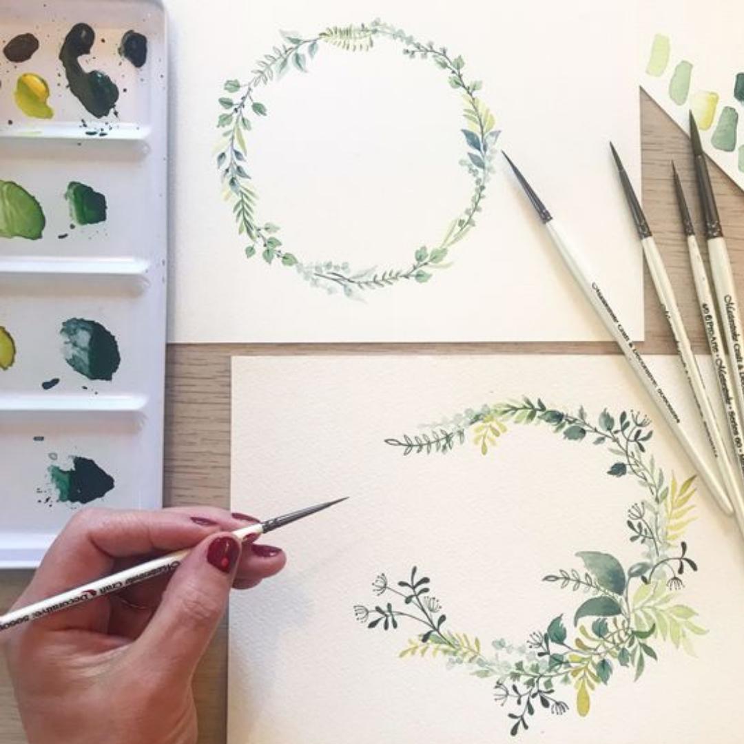 Art Nights   Online   Watercolour Floral Wreaths with Monika Diak