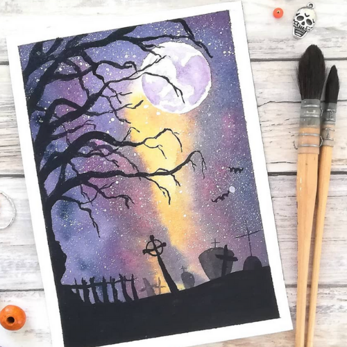 Halloween Special | Create a Spooky Night Scene | Painting or Drawing (ages 5+)