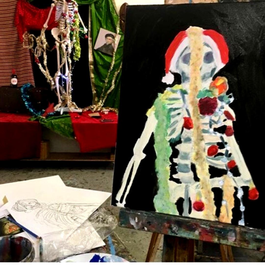 Draw + Paint Skulls + Skeletons   7-9 years