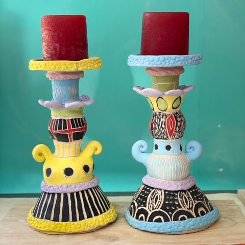 Online | Handbuilding Ceramics  | Boho candlesticks with Kara Pryor