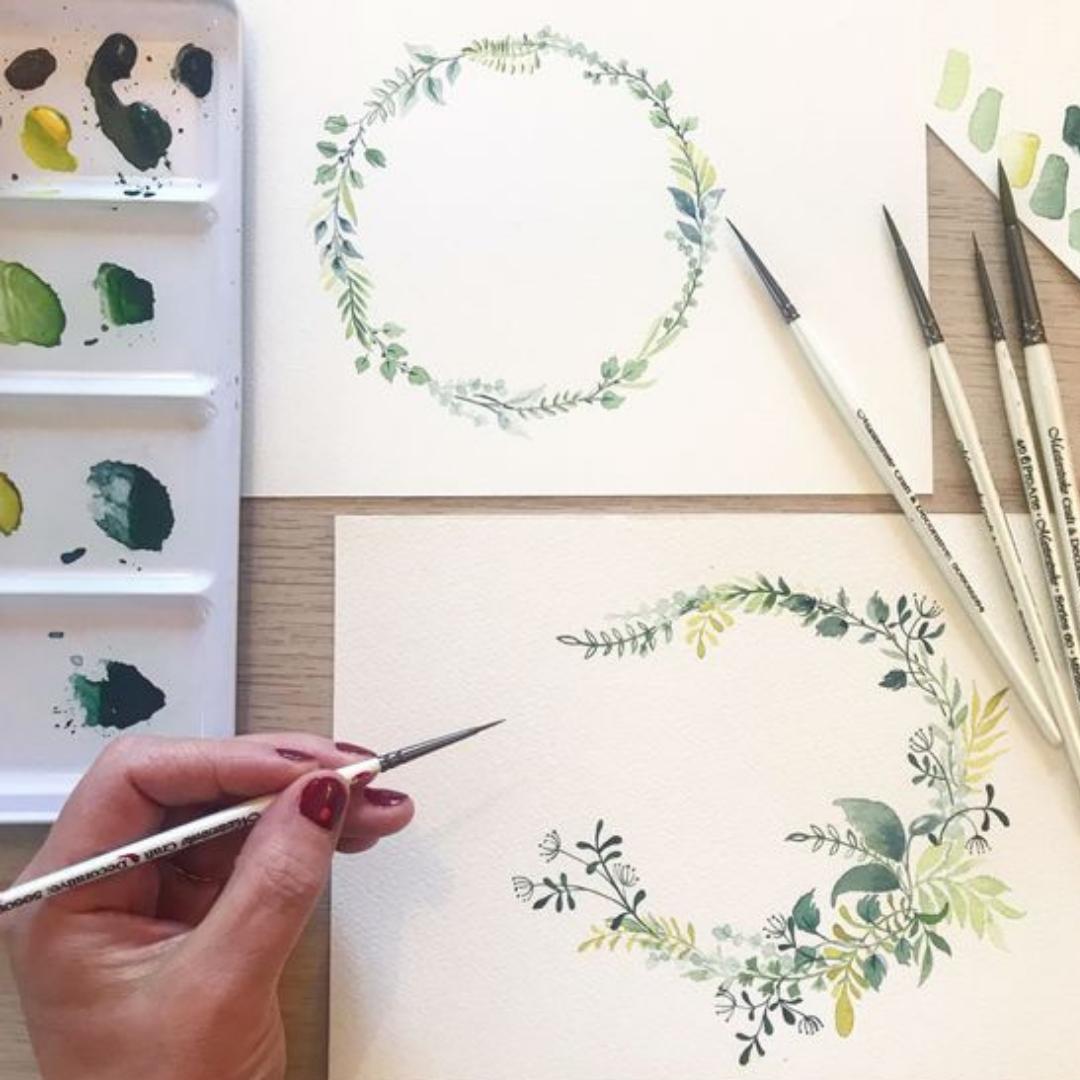 Art Nights | Online | Watercolour Floral Wreaths with Monika Diak