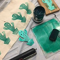 Fabric Art | Cactus Time - Block Printing Tea Towels | year 6 and over