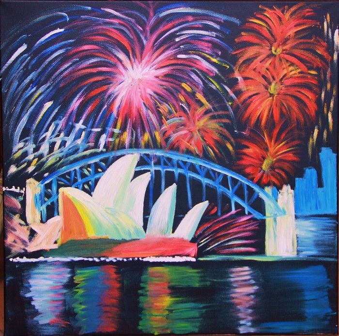 Painting   Fireworks on the Harbour   5-8 years