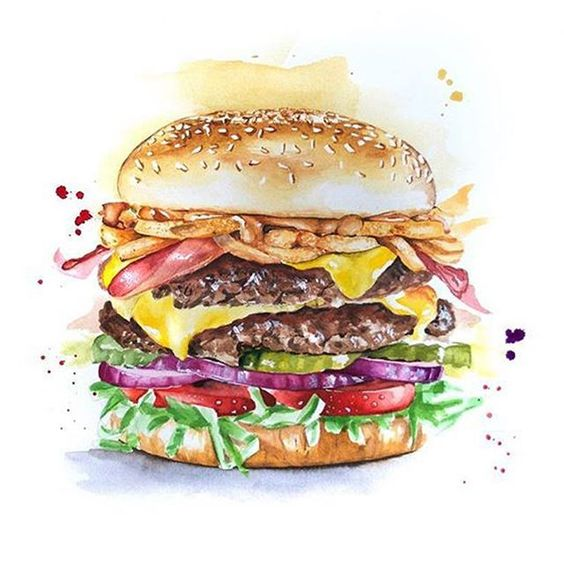 Juiciest Cheesy Burger Painting | 7-9 years