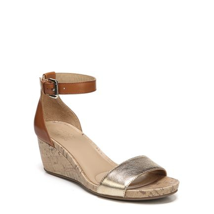 CAMI WEDGES IN TAN/GOLD