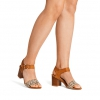 ULY HEELS IN CAMEL MULTI