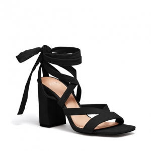 plain black heels with strap