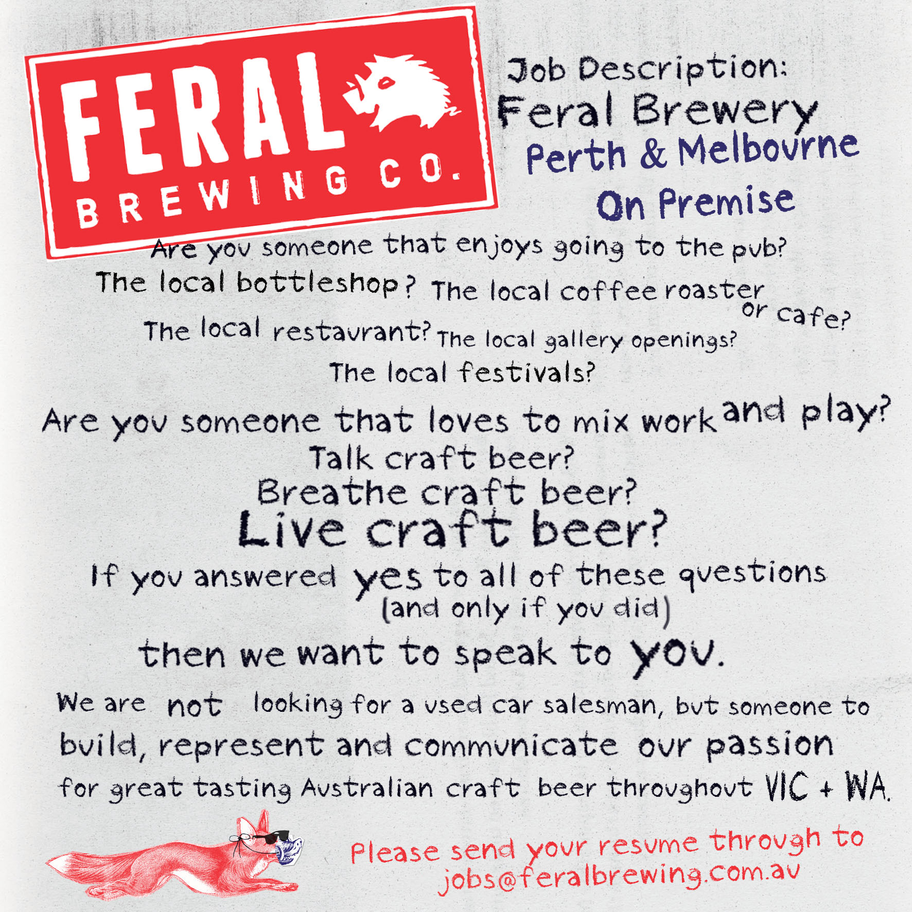 We\'re on the hunt for WA & VIC On-Premise reps to join our Feral ...