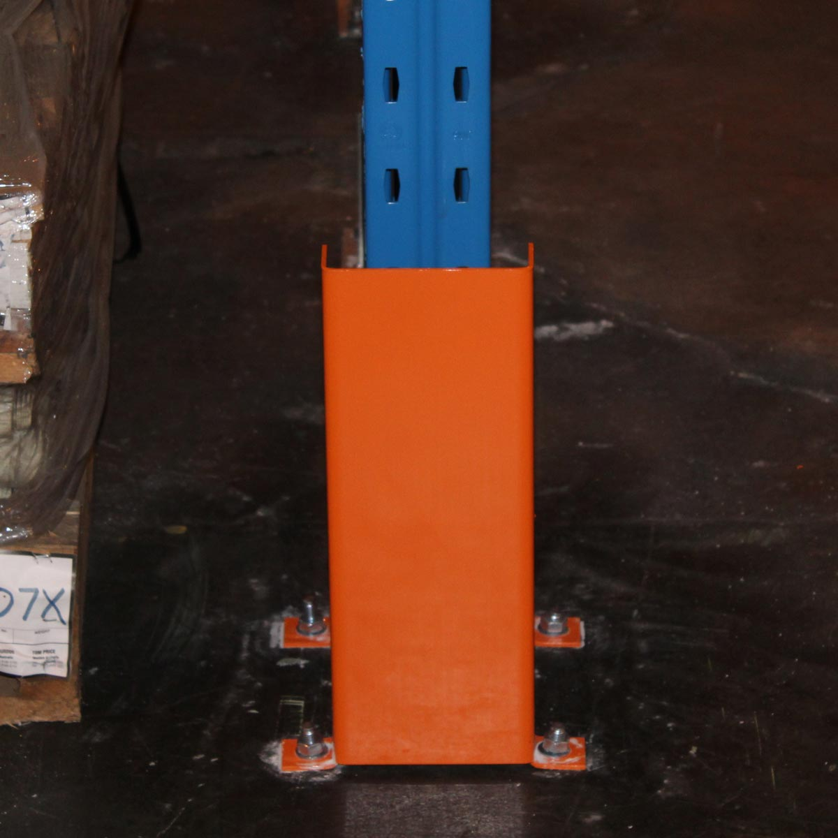Example of 400mm post corner guard/protection in orange colour when in use.