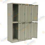 Bank of 3 Double Door Locker
