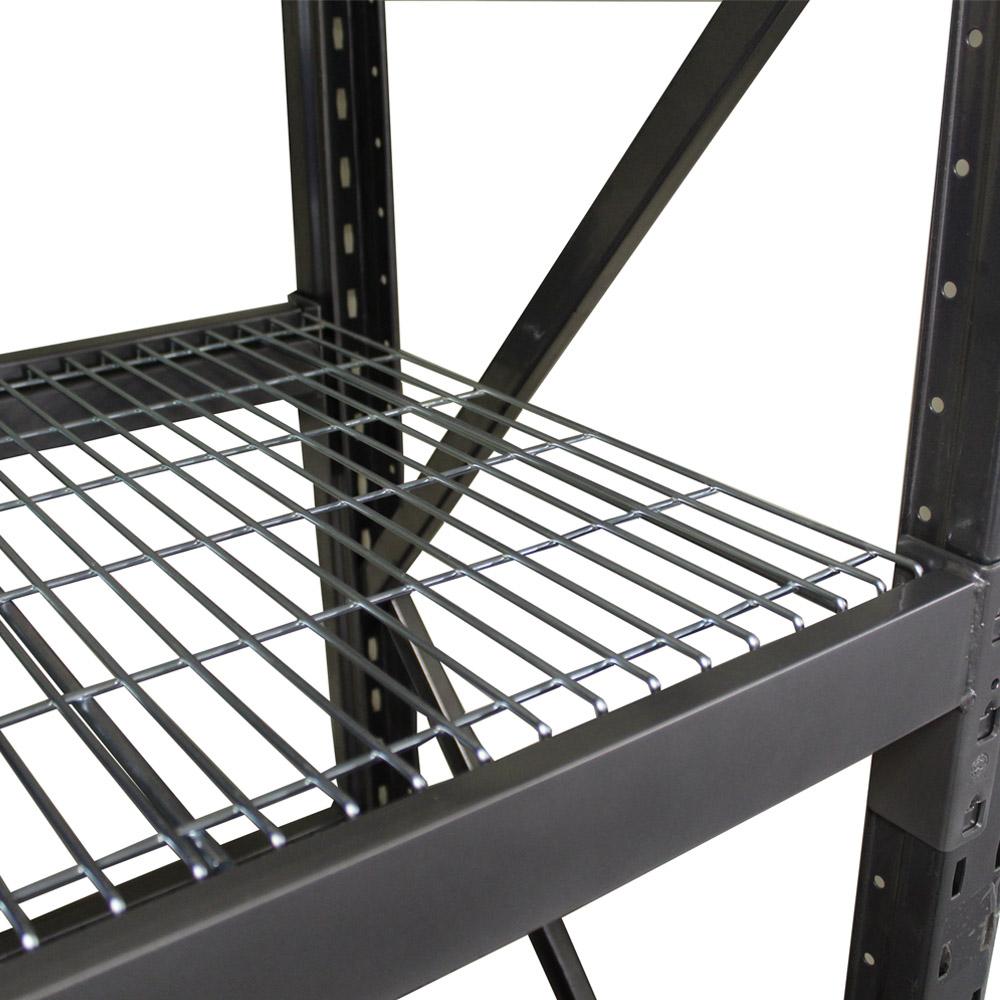 Global shelving longspan mesh decks example on racks.