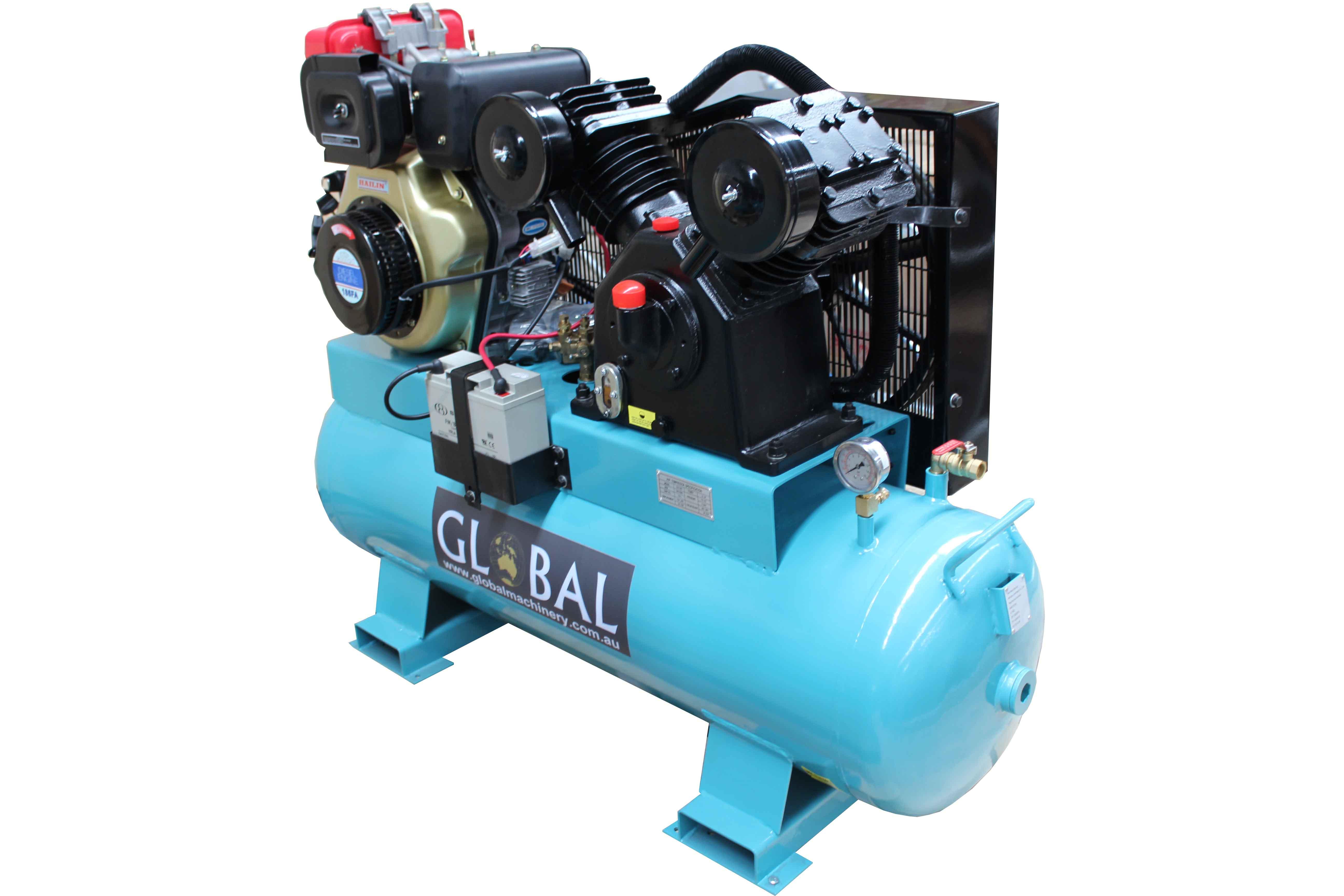 Diesel 39cfm piston type air compressor global industrial for Piston type air motor