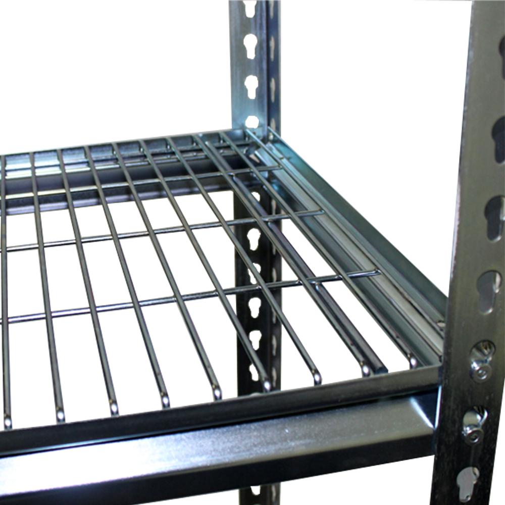 Global shelving galv rivet mesh decks example on racks.