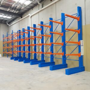 Global Industrial Medium Duty Cantilever Rack in indoor use.