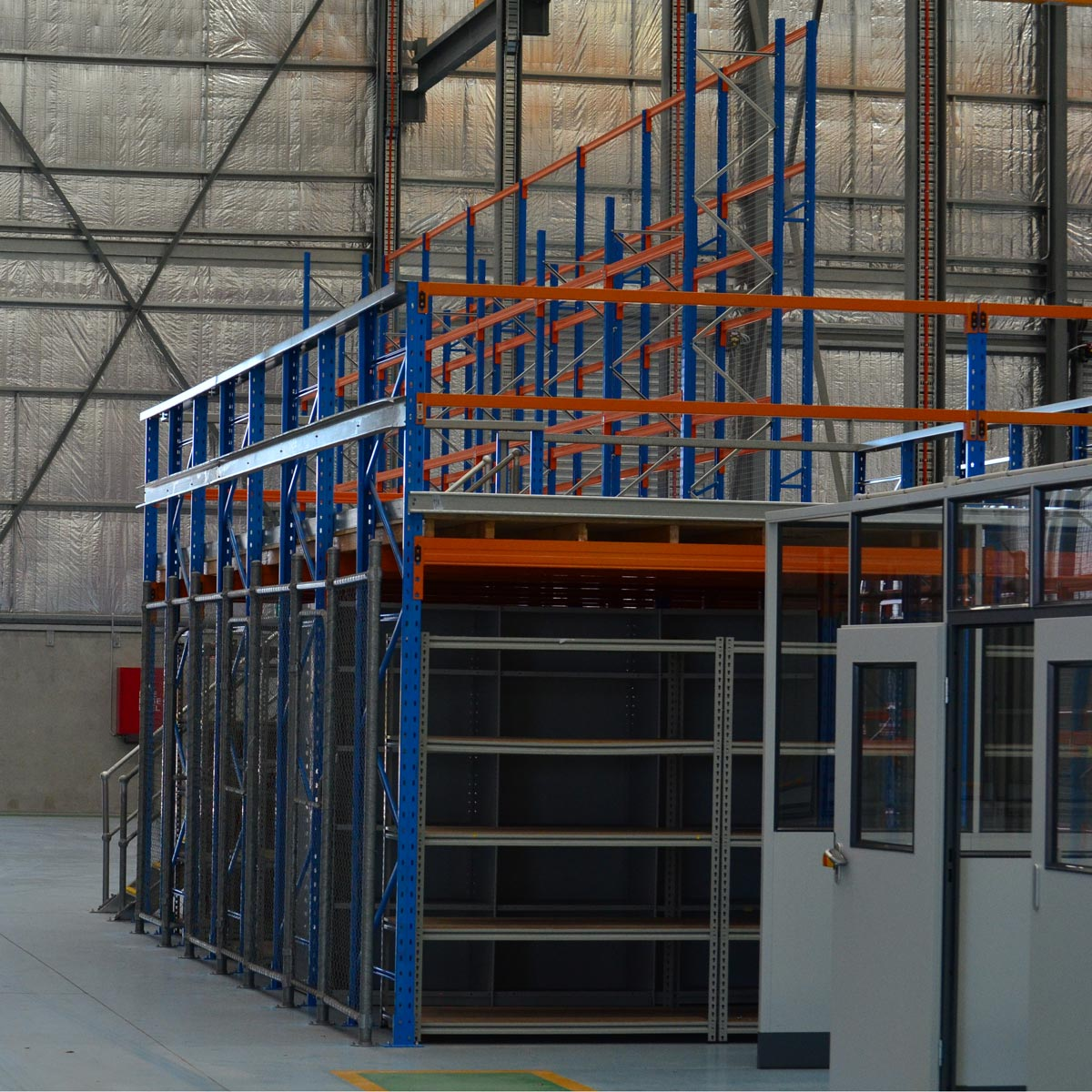 Example of how Racking Type Mezzanine Floors seen from the side.