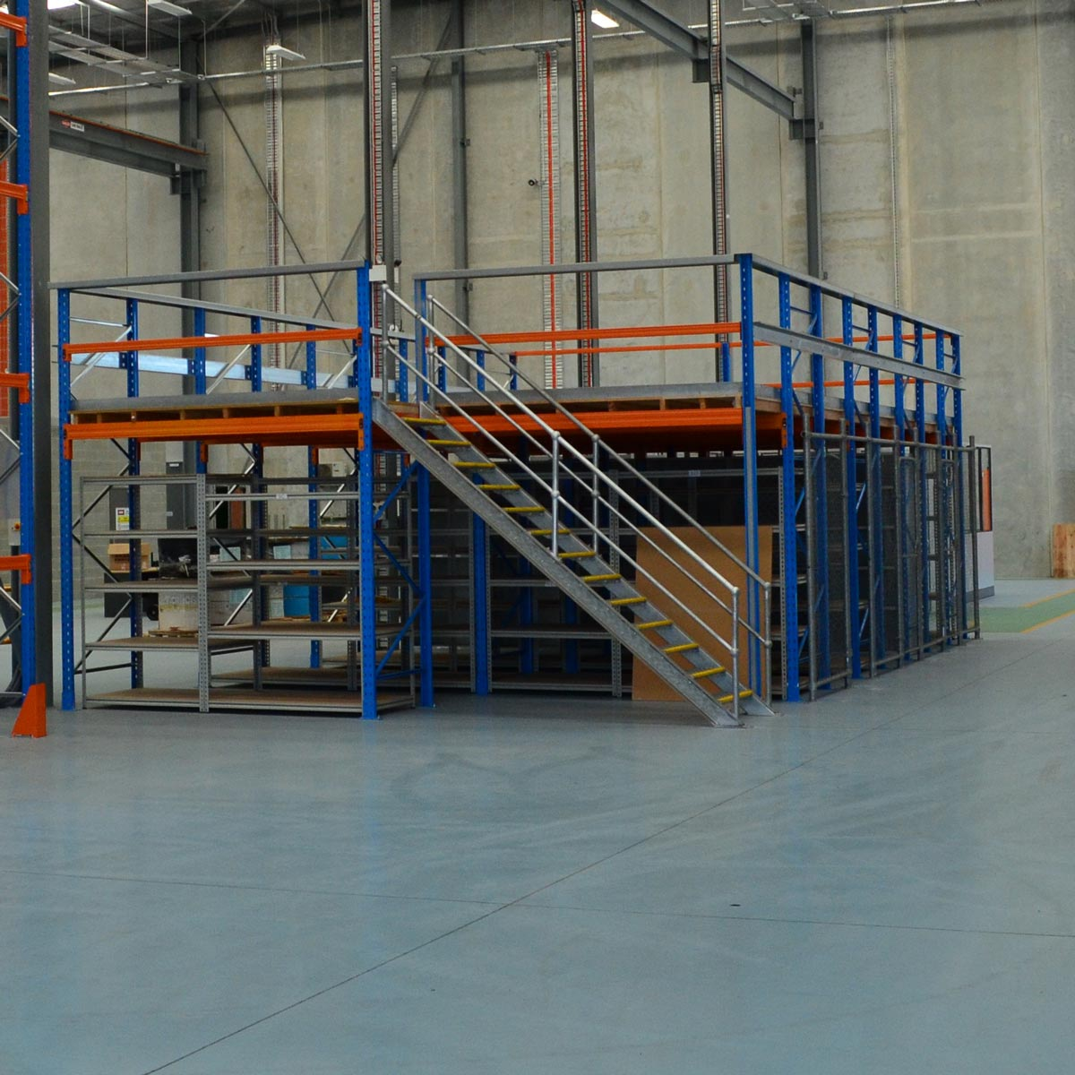 A front look of Racking Type Mezzanine Floors in a warehouse.