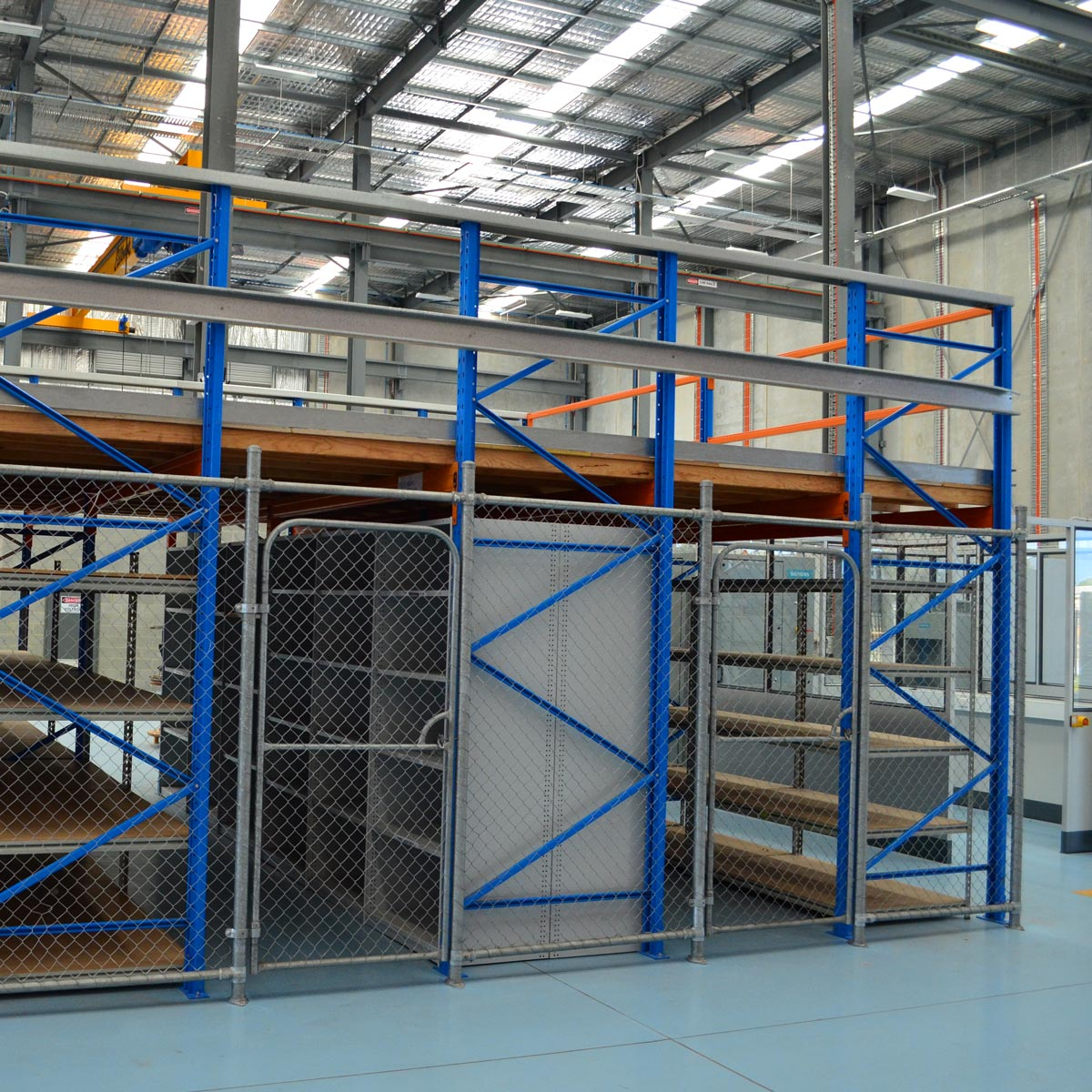 Example of how Racking Type Mezzanine Floors seen from another angle in a warehouse.