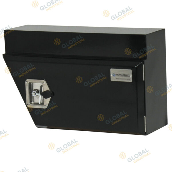Black right steel under-body Toolbox with the lid closed.