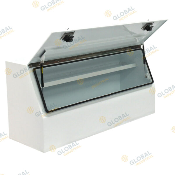 Medium Half Open Steel One Tonne Toolbox with the lid opened.