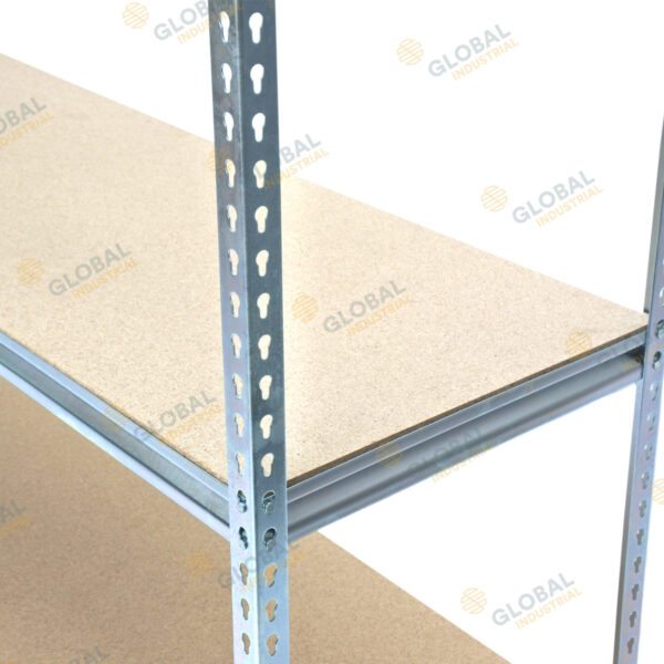 Rivet with chipboard shelves