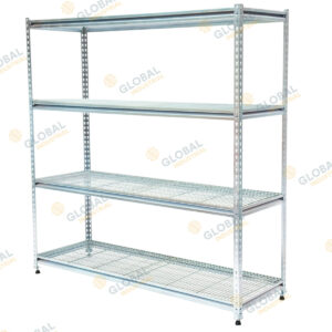 Rivet shelving with mesh