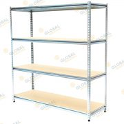 Rivet shelving with chipboard