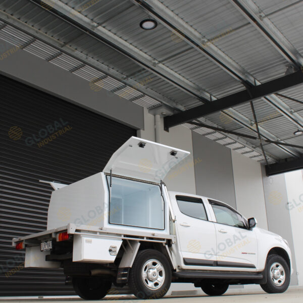 White Ute Canopy 1200mm installed on top of truck with all the lid opened.