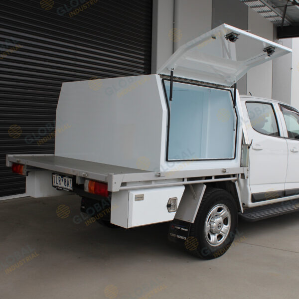 White Ute Canopy 1200mm installed on top of truck with one lid opened.