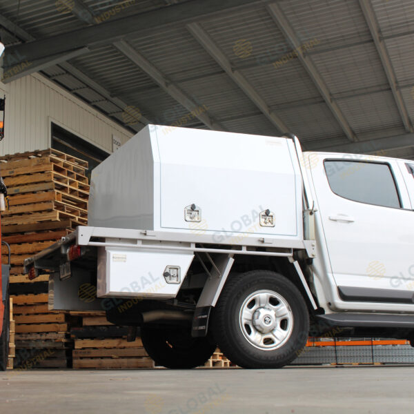 White Ute Canopy 1200mm installed on top of truck with all the lid closed.