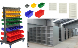 A few examples of Global Industrial storage products.
