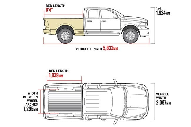 "1500 Express 6'4"" Tub diagram"