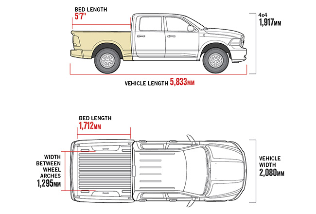 "1500 Laramie 5'7"" Tub diagram"
